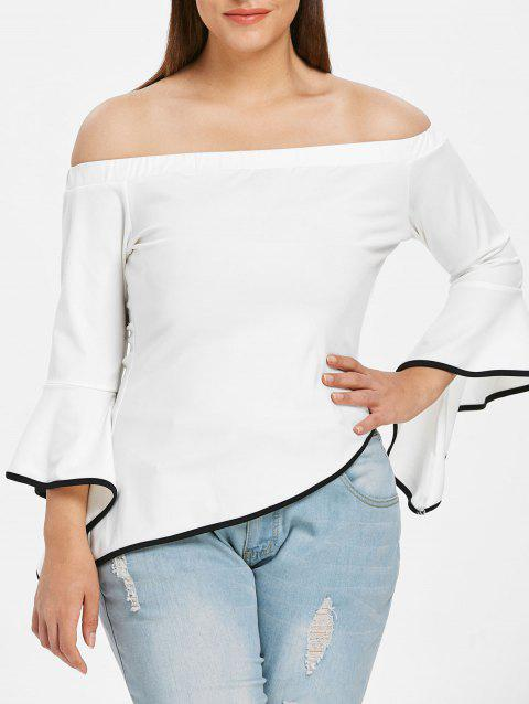 Plus Size Off Shoulder Bell Sleeve Asymmetric T-shirt - WHITE 3X