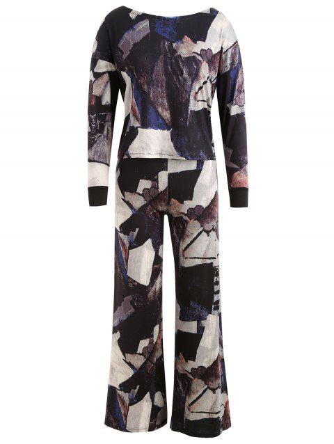 Abstract Print Knot Back Top with Pants - multicolor B 2XL
