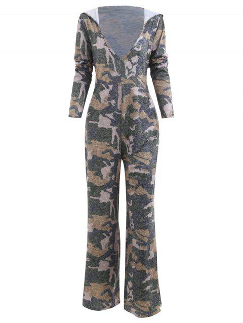 Hooded Camouflage Print Jumpsuit - CAMOUFLAGE GREEN S