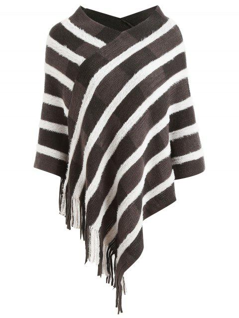 Striped Asymmetrical Cape Sweater - multicolor ONE SIZE