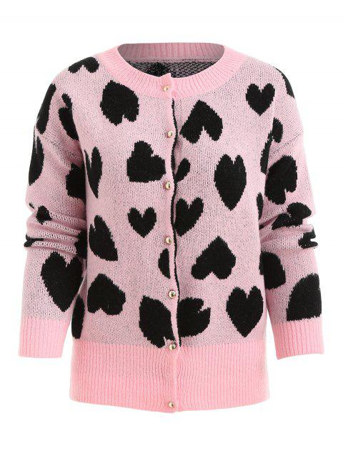 Heart Pattern Button Up Knit Cardigan - LIGHT PINK ONE SIZE