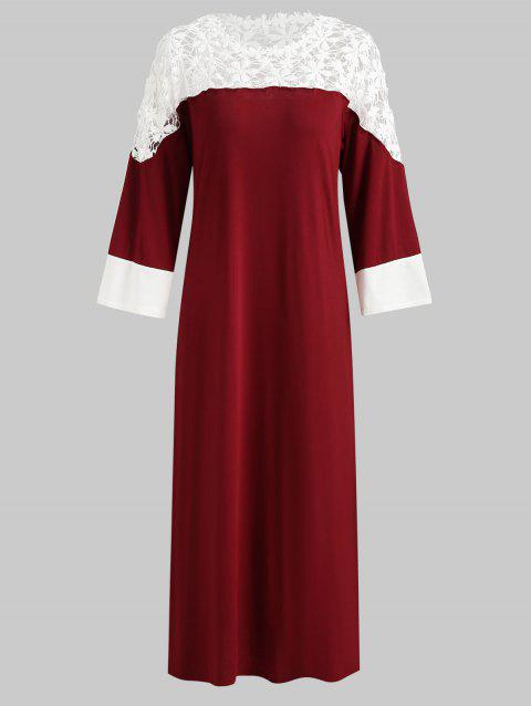 734f3deff6b9 17% OFF] 2019 Crochet Floral Trim Long Sleeve Maxi Dress In RED WINE ...
