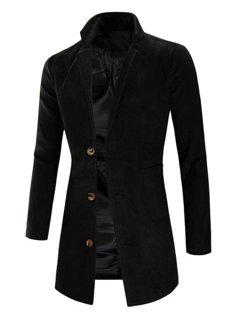 Lapel Collar Single Breasted Longline Coat - BLACK XL
