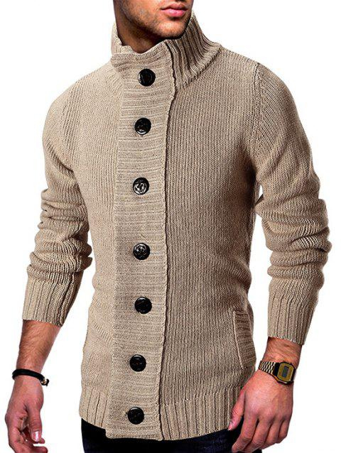 Stand Collar Button Fly Knitted Cardigan - TAN XL