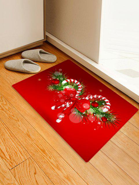 Christmas Candy Cane Printed Decorative Floor Mat - LAVA RED W16 X L24 INCH