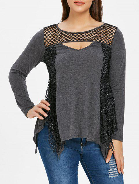 Cut Out Plus Size Asymmetrical T-shirt - DARK GRAY 3X