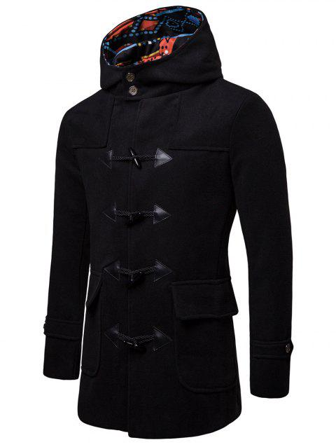 Duffle Long Sleeve Hooded Coat - NATURAL BLACK XL