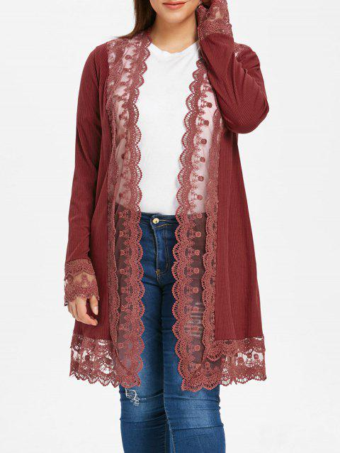 Ribbed Lace Trim Plus Size Open Cardigan - RED WINE 3X