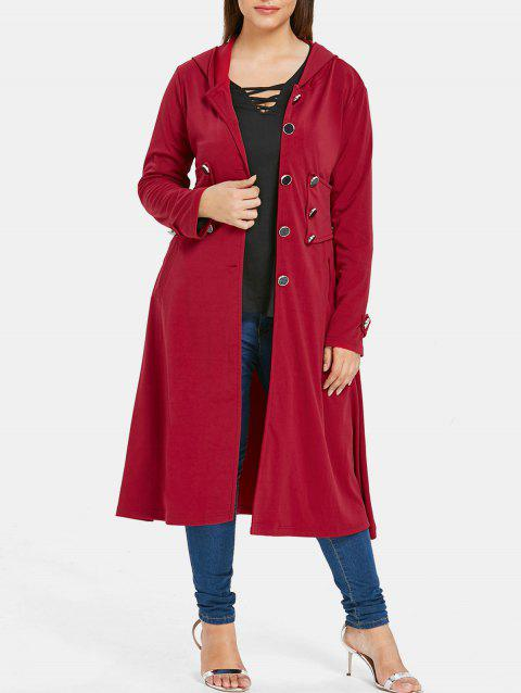 Plus Size Hooded Skirted Coat - RED WINE 1X