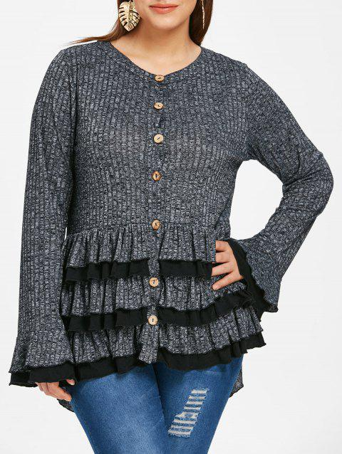 Space Dye Ruffles Plus Size High Low Cardigan - GRAY 1X