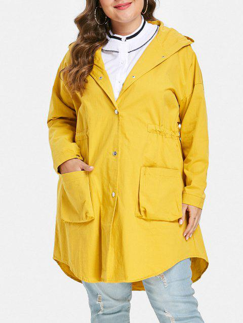 Drawstring Waist Plus Size Front Pockets Coat - YELLOW 1X