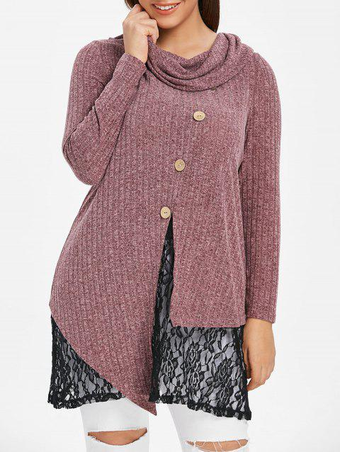 Plus Size Cowl Neck Lace Insert Marled Knitwear - RED WINE L