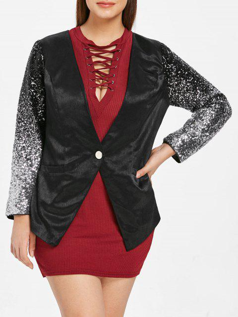 Plus Size Sequin Long Sleeve Blazer - BLACK L