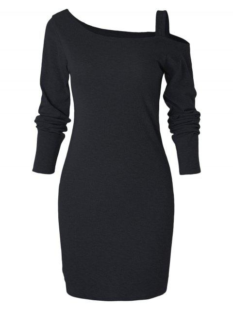 Cold Shoulder Knit Bodycon Dress - BLACK M