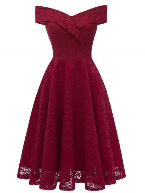 Off Shoulder Lace A Line Dress - RED WINE M