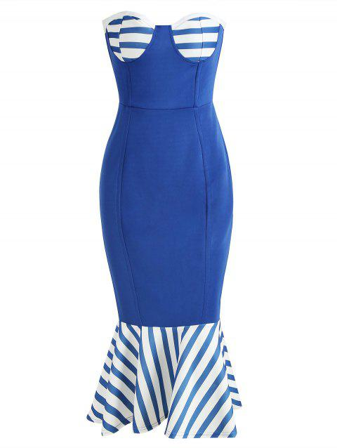 Strapless Nautical Bodycon Dress - BLUEBERRY BLUE L