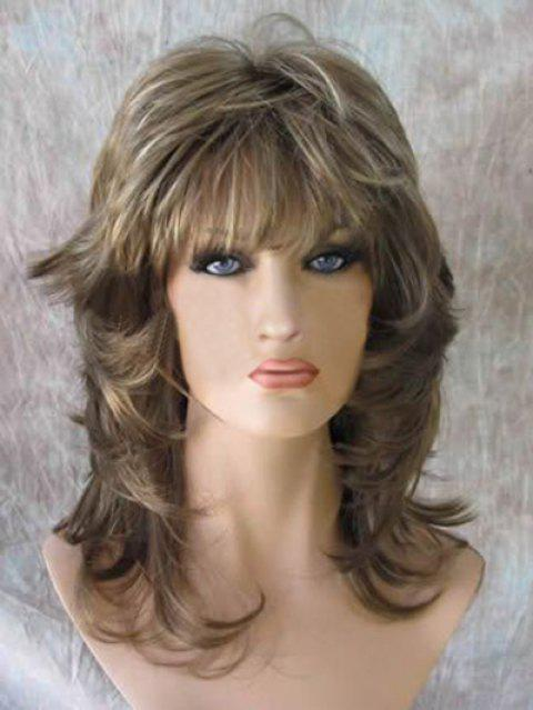 Medium Colormix Natural Straight Synthetic Wig - multicolor