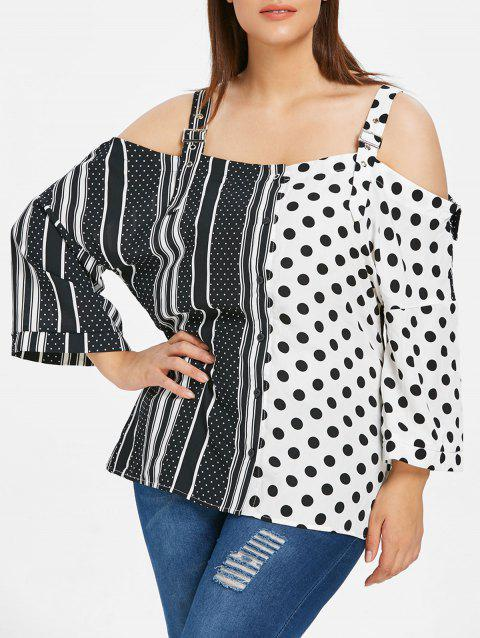 Plus Size Polka Dot and Striped Panel Blouse