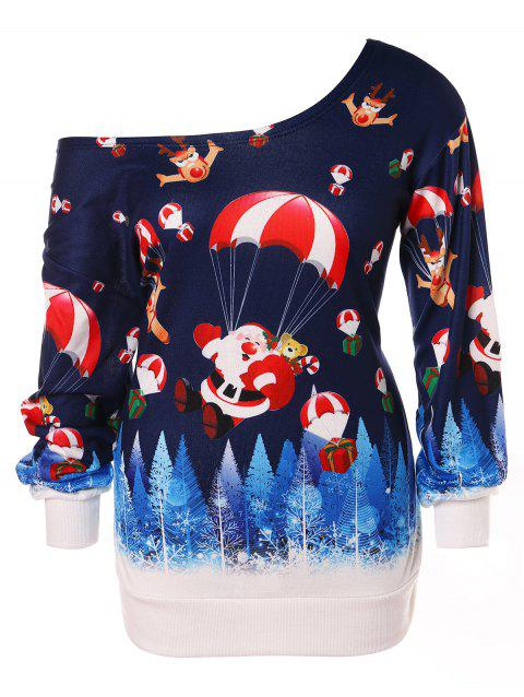 Christmas Plus Size Santa Claus Print Skew Neck Sweatshirt - DEEP BLUE 2X