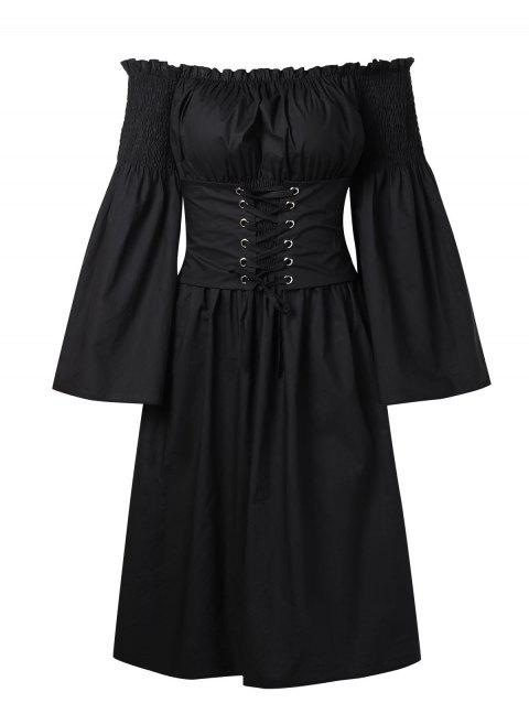 Off Shoulder Bell Sleeve Lace Up Midi Dress - BLACK L