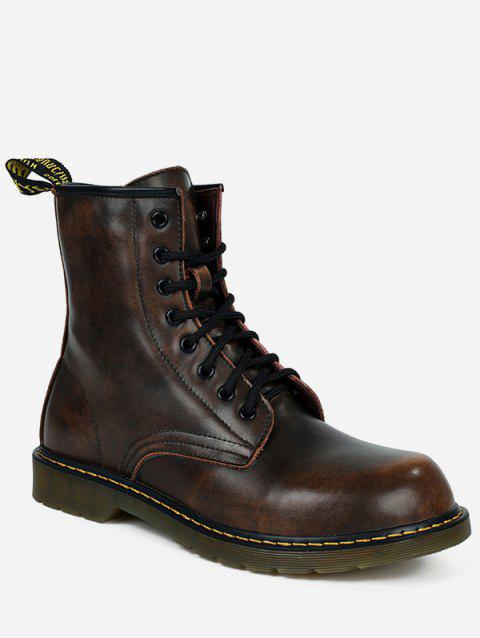 Lace Up PU Leather Vintage Boots - BROWN EU 43