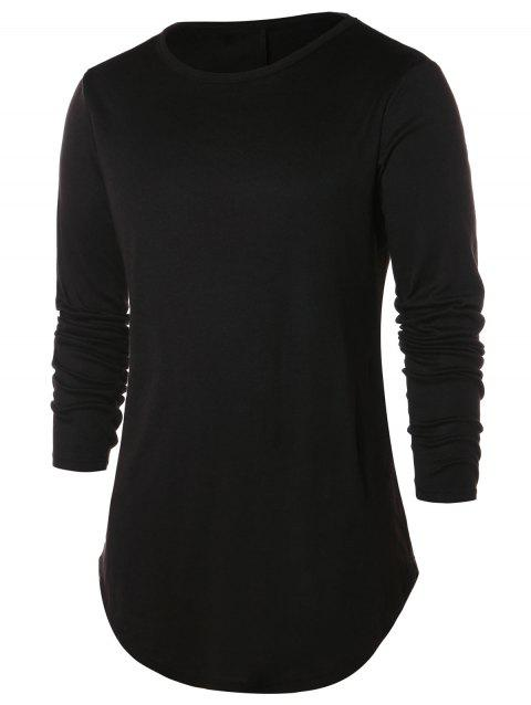 Arc Hem Solid Round Neck T-shirt - BLACK L