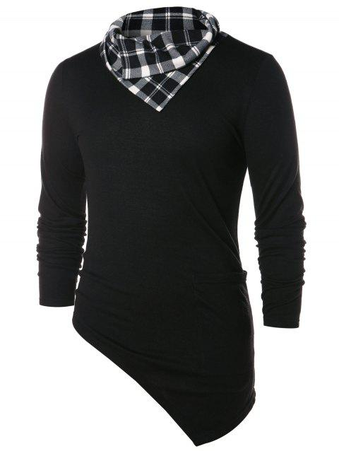 Asymmetric Checked Pattern Pile Heap Collar T-shirt - BLACK 2XL