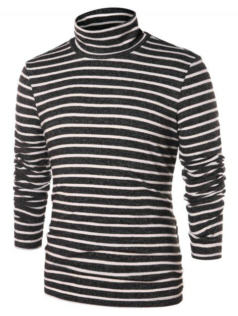 High Collar Striped Long Sleeve T-shirt - multicolor L