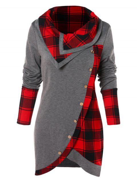 d4ae62a1a91e98 41% OFF] 2019 Tartan Panel Cowl Neck Tulip Front T-shirt In GRAY ...