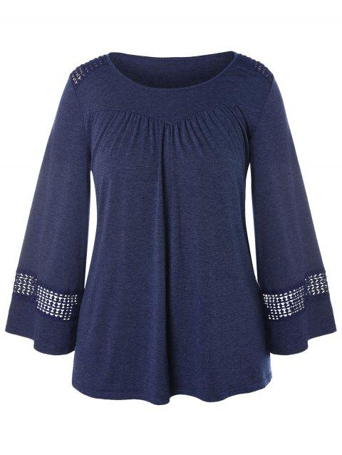 Plus Size Long Sleeve Lace Crochet T-shirt - LAPIS BLUE 3X