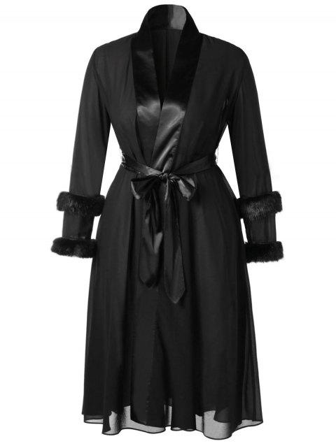 Plus Size Belted Fluffy Sleeves Midi Wrap Coat - BLACK L