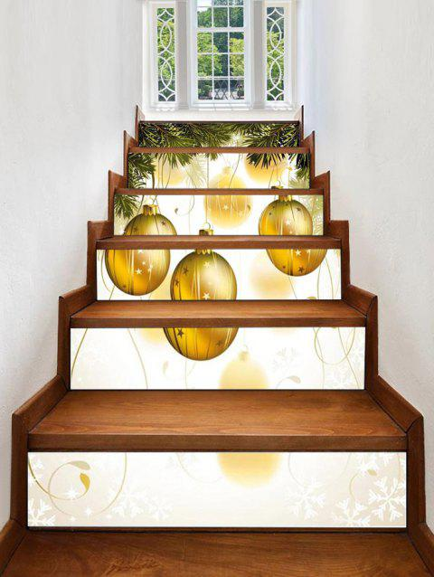 Christmas Hanging Ball Pattern Decorative Stair Stickers - multicolor 6PCS X 39 X 7 INCH( NO FRAME )
