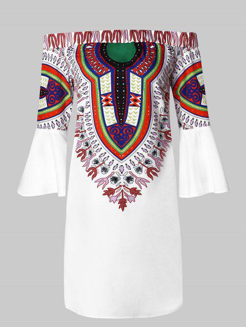 Off the Shoulder Flare Sleeve Ethnic Print Dress - WHITE 2XL