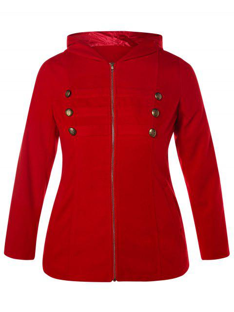 Plus Size Zipper Fly Hooded Coat with Buttons - RED 2X
