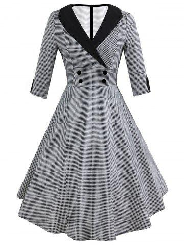 0f2bb8d314 Vintage Shawl Collar Dotted Pin Up Dress
