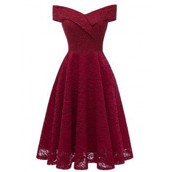7699e8f550d 41% OFF  2019 Off Shoulder Lace A Line Dress In RED WINE M ...