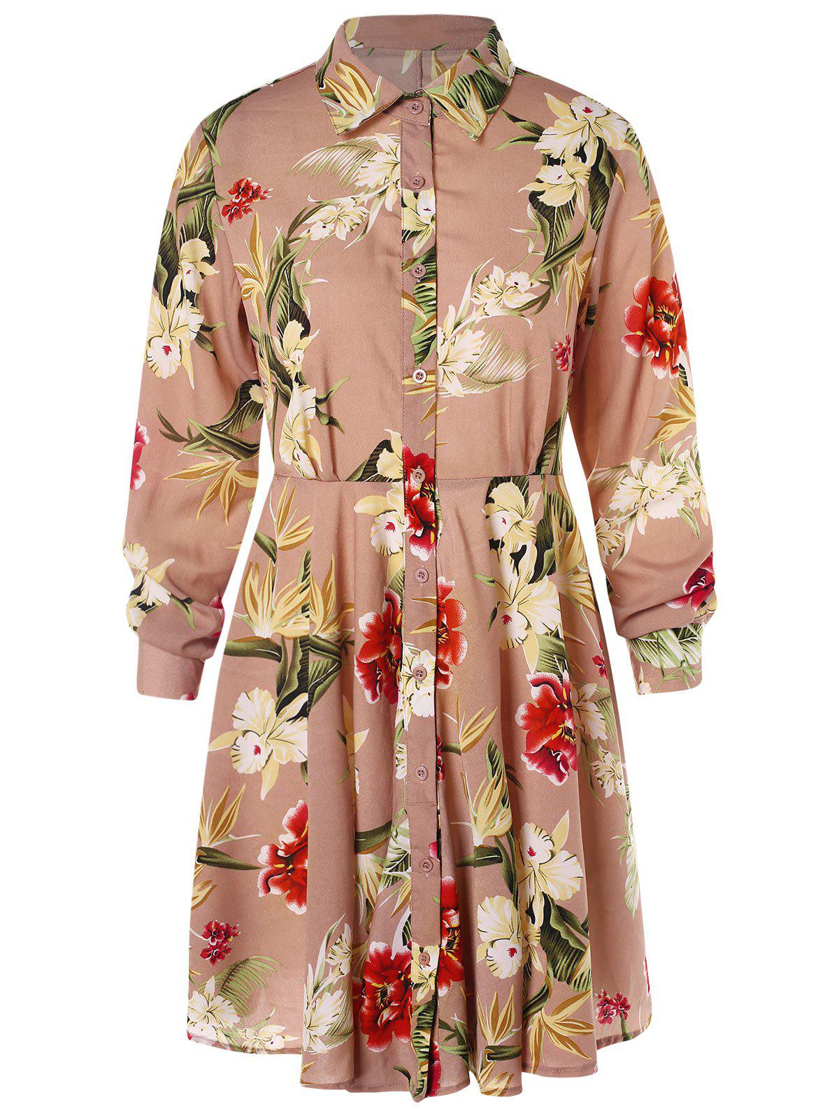 Floral Print Long Sleeve Shirt Dress - KHAKI ROSE L