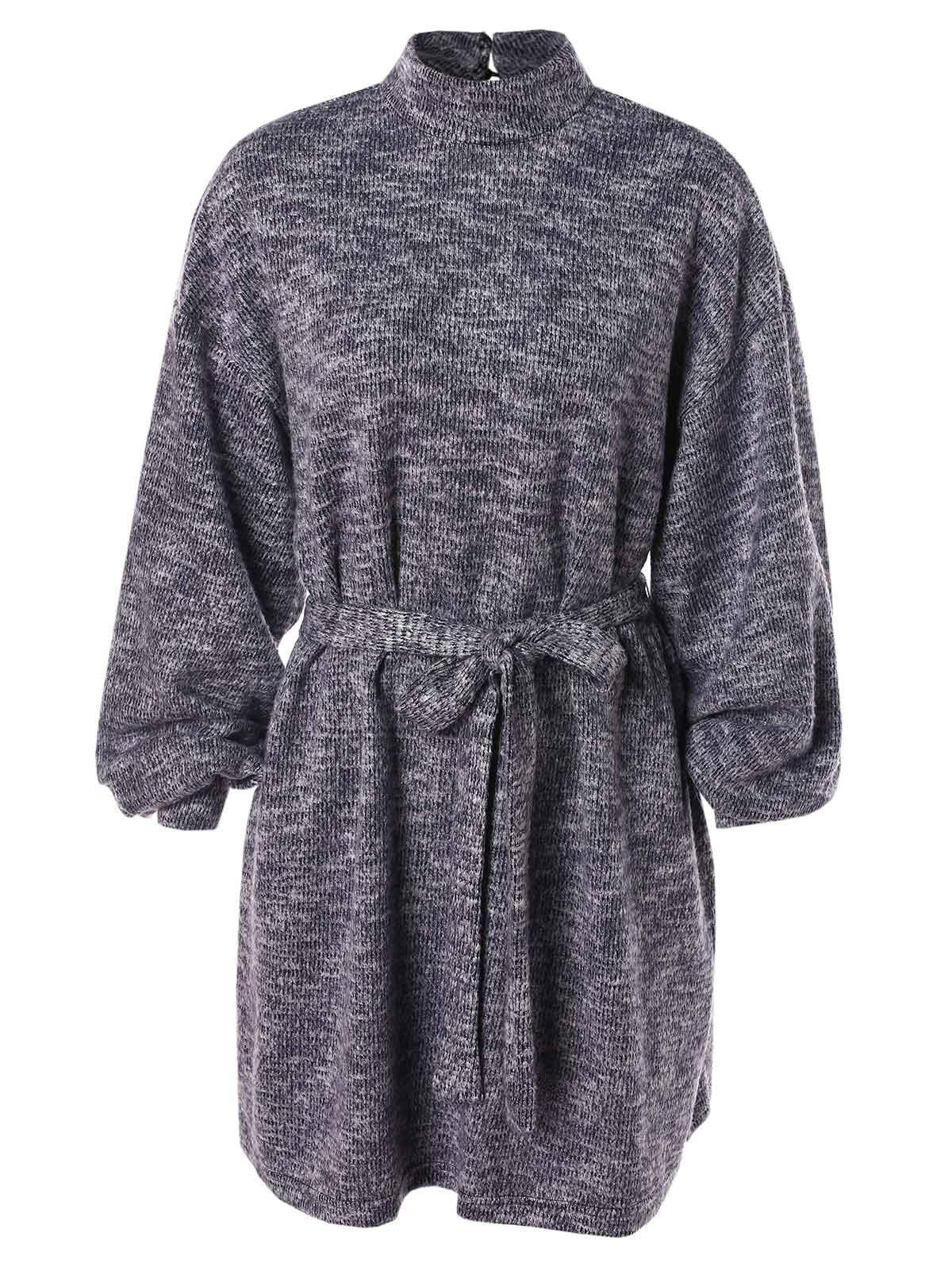 High Neck Long Sleeve Sweater Dress - SLATE BLUE M