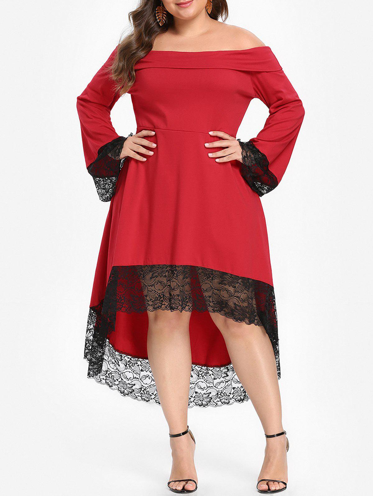Plus Size Flare Sleeve High Low Dress - RED 2X