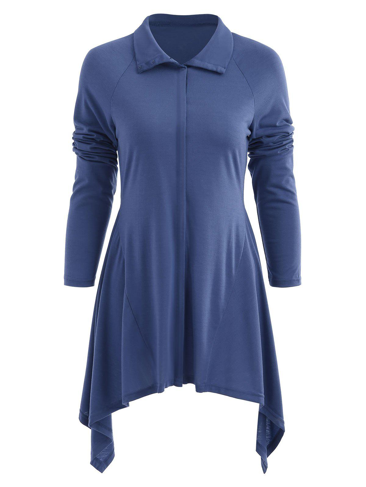 Button Down Asymmetrical Long Coat - BLUE XL