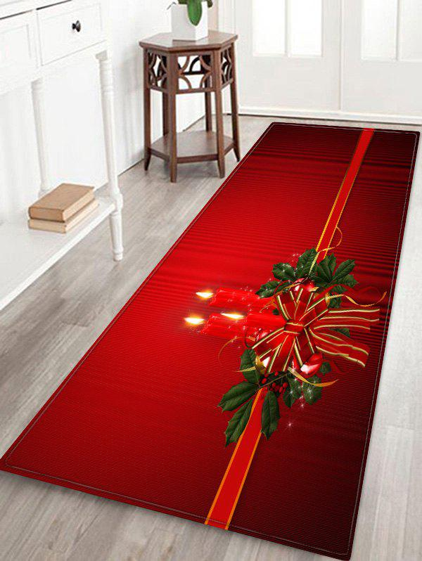 Christmas Candle Printed Decorative Floor Mat - RED W16 X L47 INCH
