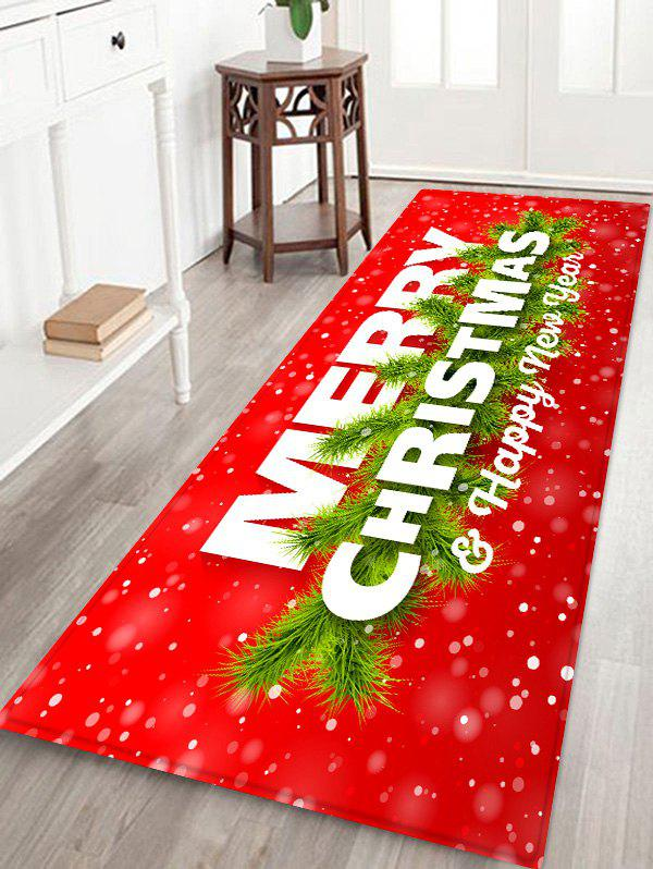 Merry Christmas Printed Decorative Floor Mat - LAVA RED W24 X L71 INCH
