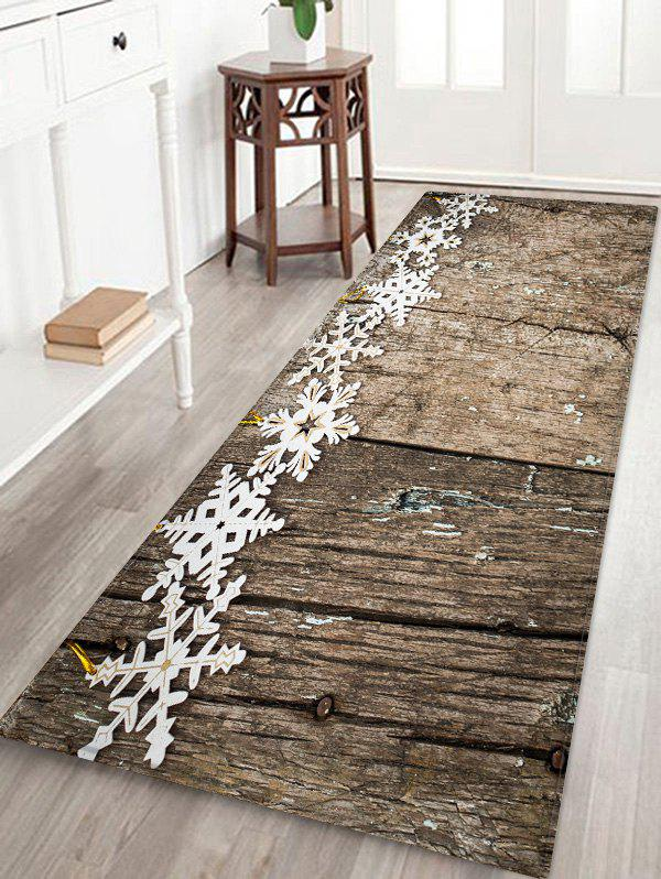 Christmas Snowflake Wooden Printed Decorative Floor Mat - WOOD W16 X L47 INCH