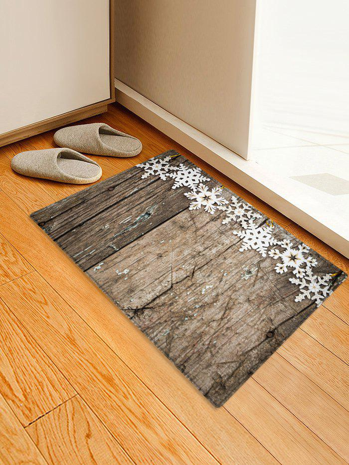 Christmas Snowflake Wooden Printed Decorative Floor Mat - WOOD W16 X L24 INCH