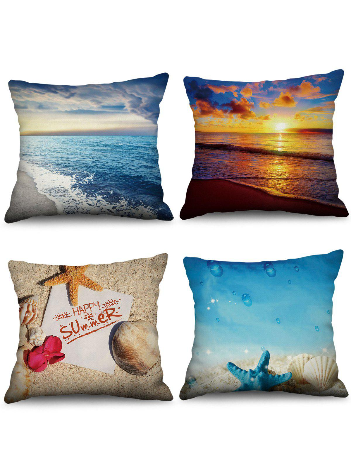4PCS Beach Starfish Printed Pillowcases