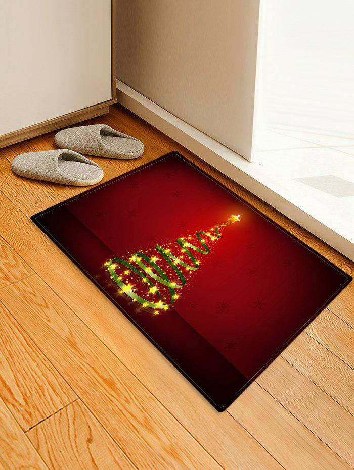 Christmas Tree Printed Decorative Floor Mat - RED W16 X L24 INCH