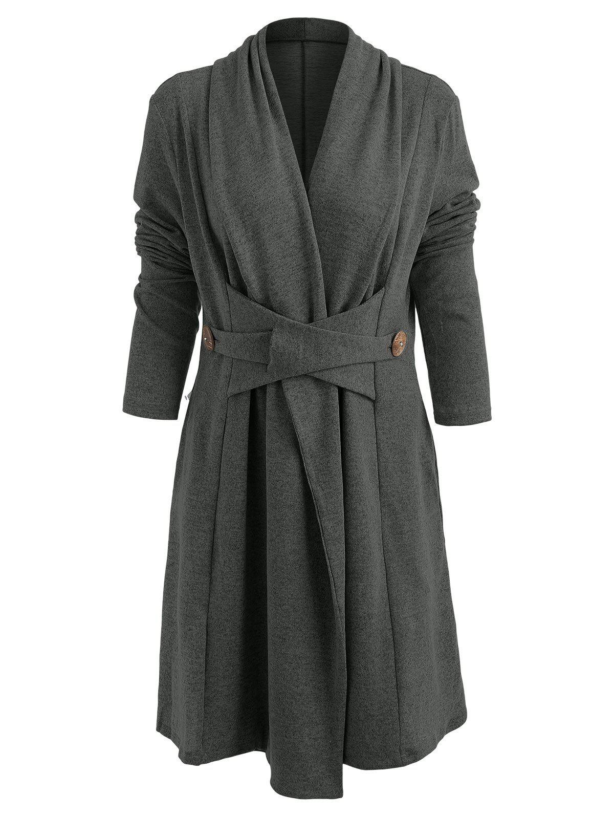 Open Front Button Long Duster Cardigan - DARK GRAY 2XL