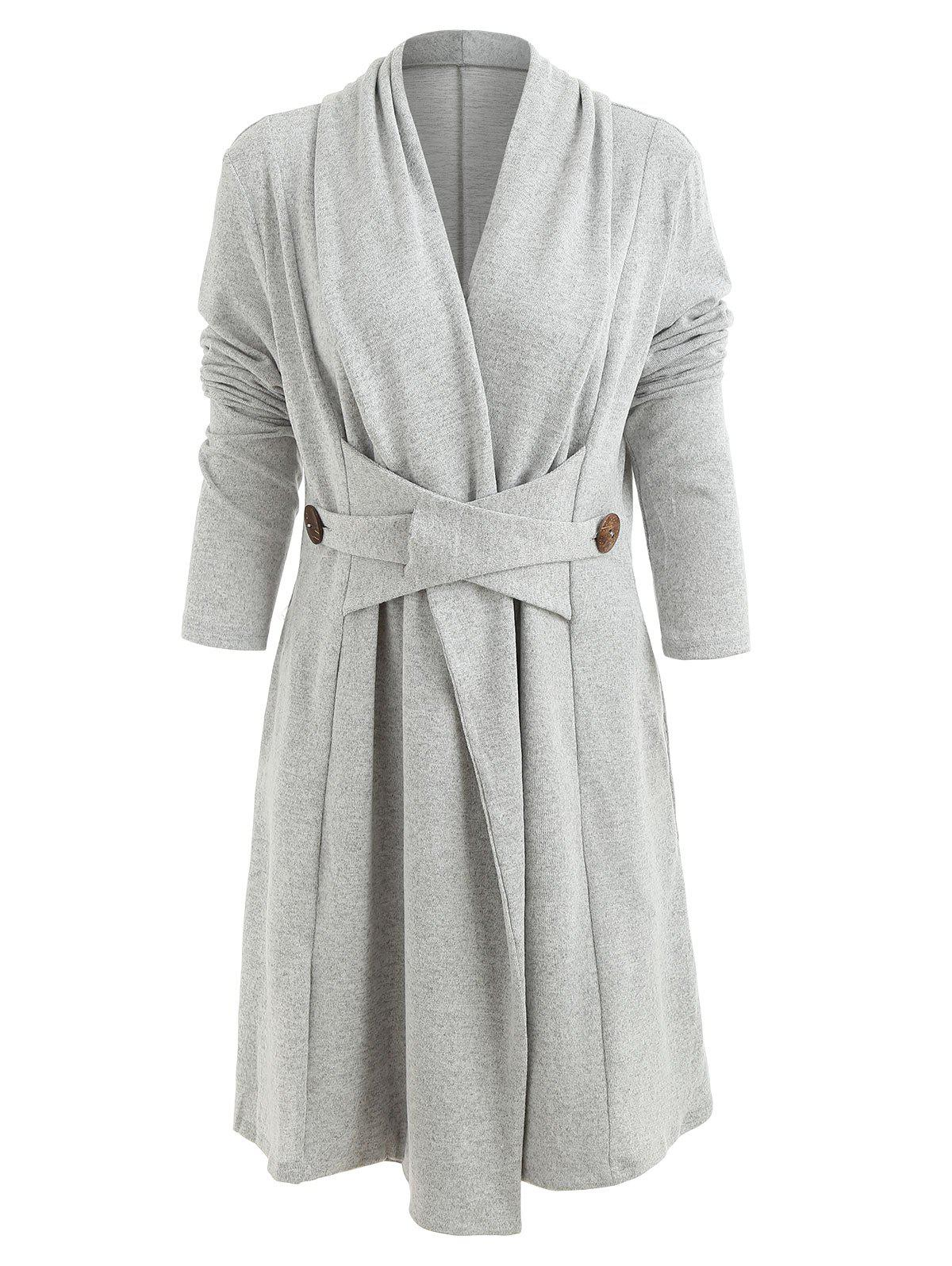 Open Front Button Long Duster Cardigan - LIGHT GRAY L