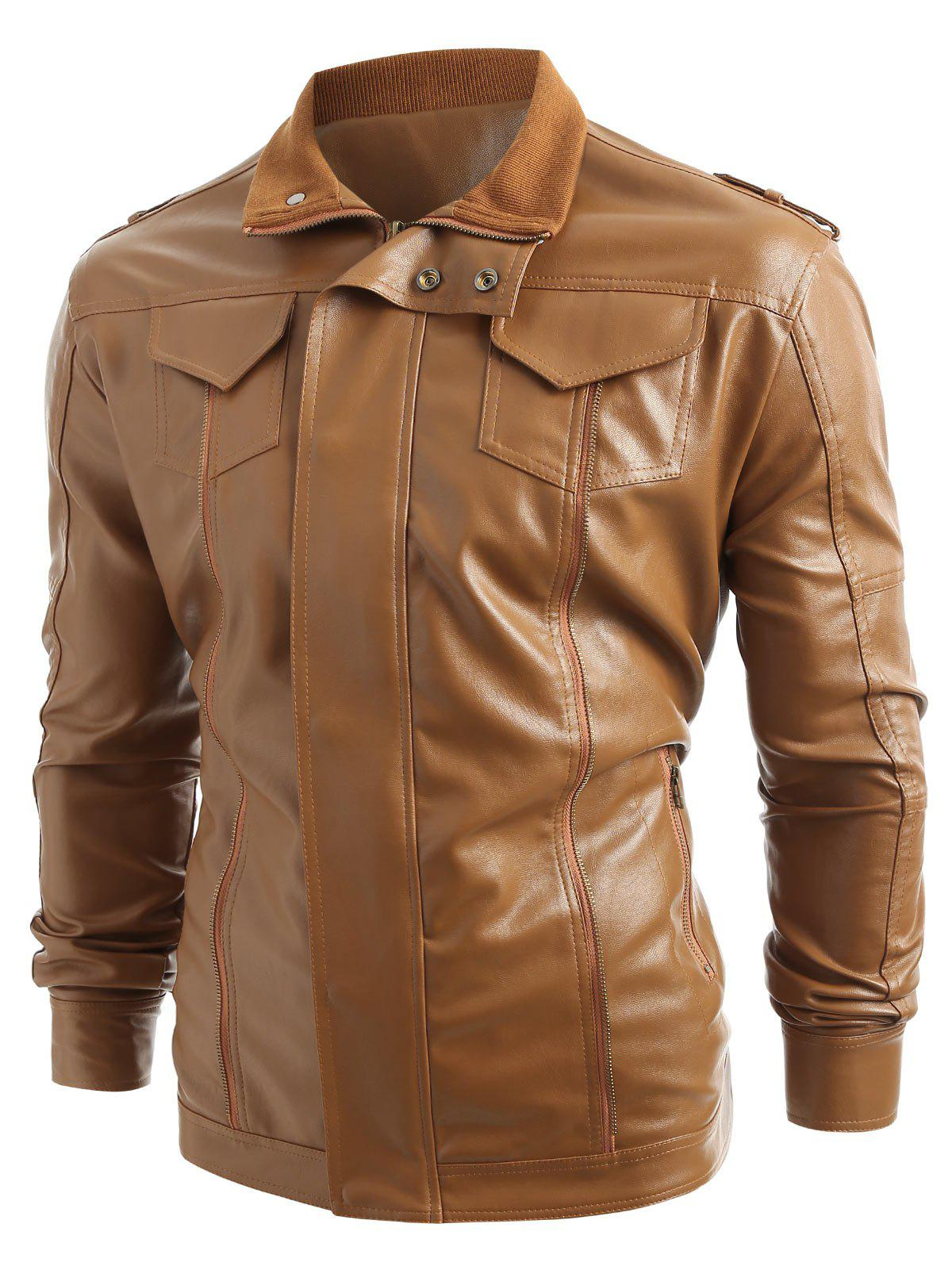 Solid Color Zip Fly PU Jacket - BROWN XS