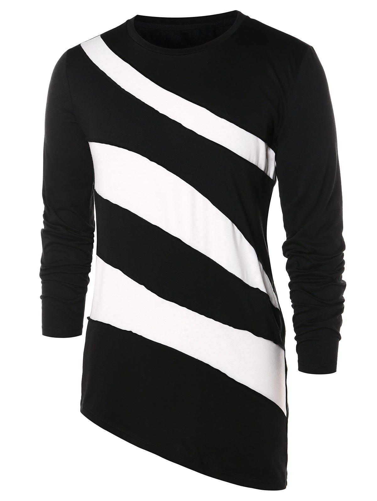 Asymmetric Color Block Long Sleeve T-shirt - BLACK M